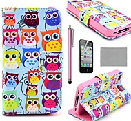 COCO FUN ® étui en Full Body Motif mignon coloré de hibou en cuir PU Avec Film, Stand And Stylus pour iPhone 4/4S