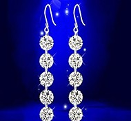 Fashion Silver AAA Zircon Crystal Long and Simple Drop Earrings