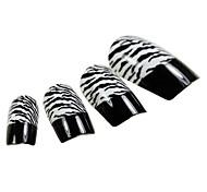 24PCS Black Fingertip Leopard Design Nail Art Tips With Glue