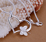 Charming Silver Bowknot Heart  Shape Women's Pendents