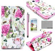 Coco divertido patrón floral eiffel ® caja de cuero de la PU con el protector de pantalla, aguja y soporte para i9500 samsung galaxy s4