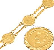 u7® pulseiras moeda rainha britânica ouro 18k cheias elo da cadeia chapeado para mulheres pulseira jóias
