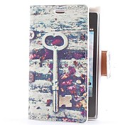 Vintage Key and Flowers Style Leather Case with Card Slot and Stand for LG E400/Optimus L3