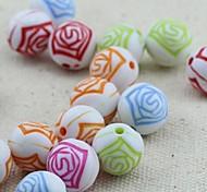 z&x® Perles de bricolage fleurs matériels imprimés rétro perles de couleur 30 pcs (couleur aléatoire, motif)