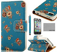 COCO FUN ® Flower Dark Blue Patroon PU Leather Full Body hoesje met Screen Protector, Stand en Stylus voor iPhone 4/4S