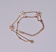 Fashion Rose Gold Daisy Titanium Steel Anklet
