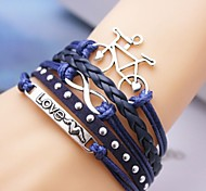 Leather Bracelet Multilayer Alloy Bicycle and Love Infinite Handmade Bracelet