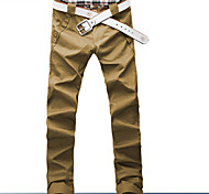 Men's Solid Casual Chinos,Cotton Blend Black / Yellow / Gray