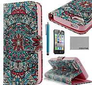 Malaquita tribal del cuero de la PU de la caja de cuerpo completo COCO FUN ® con protectores de pantalla, Stand and Stylus para iPhone 4/4S