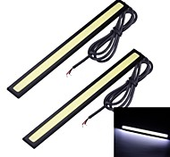 Merdia 2PCS 7W 1800LM 6000K COB White Light Strip Car Light / Daytime Running Light (17CM / 12V)