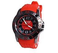 Men's Black Round Dial Rubber Band Quartz Analog Wrist Watch(Assorted Colors)