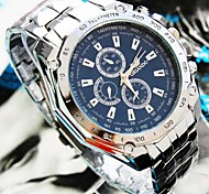 Coway Men's Round Bule Dial Silver Alloy Band Quartz Analog Waterproof Wrist Watch(Assorted Color) Cool Watch Unique Watch