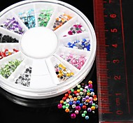 600PCS 12Colours 2mm Round Acrylic Rhinestones Wheel Nail Art Decoration