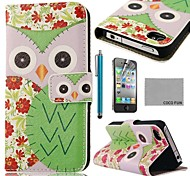 Patroon COCO FUN ® Green Flower Uil PU Leather Full Body hoesje met Screen Protector, Stand en Stylus voor iPhone 4/4S