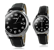 Couple's Arabic numbers Leather Quartz Dress Watch