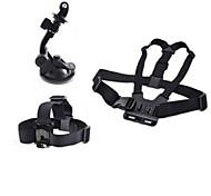 Gopro Accessories 3 in 1 Chest Strap + Head Strap+Mini Car windshield Suction Cup For GoPro Hero 1 2 3 3+Camera