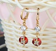 New Design Multicolor 18K Gold & AAA Swiss Diamond & 18K Gold Plated Female Drop Earrings ER0236