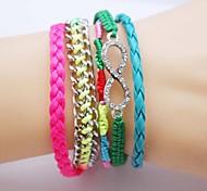Multilayer Colorful Zircon Handmade Leather Bracelet