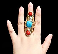 Fashion  Hoard of Big Stones Joint Alloy Electroplating Ring Restoring Ancient Ways