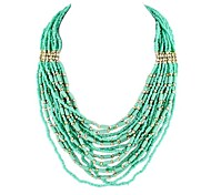 Cute Green Pink Black Multilayer Chains Bead Necklace