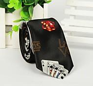 Homens Poker de Dados de impressão moda Preto Weave Gravata