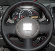 XuJi ™ Black Genuine Leather Steering Wheel Cover for Nissan March Sunny Versa
