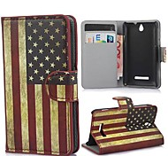The Stars and the Stripes Pattern Case with Card Slot and Built-in Matte for Sony Xperia E C1605