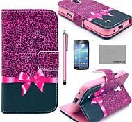 coco plaisir ® étui en cuir motif léopard violet pu avec protecteur d'écran et un stylet pour les mini i9190 samsung galaxy de