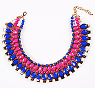 Fashion  (Chain) BlackAndWhite Gem Choker Necklace(Black,White,Rose,Blue) (1 Pc)