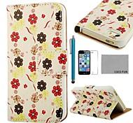 COCO ® FUN Flower White Pattern PU Leather Case Full Body com Filme, Stand e Stylus para iPhone 5/5S