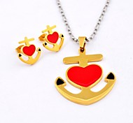 Gothic Red Heart  Anchor Titanium Steel  Necklaces and Earrings Jewelry Sets