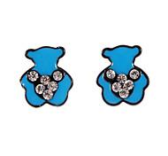 Fashion Multicolor Bear Shape Stud Earrings Random Color (1 Pair)