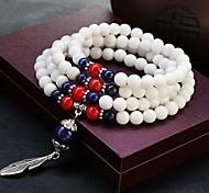 Chinese Wind (Feathers) White Tridacna Silver Bracelet (White) (1 PC)