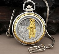 Men's Angler Style Round Roman Large Numerals Dial Quartz Analog Pocket Watch