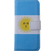 Argentina Flag Pattern PU Leather Full Body Case with Card Slot for iPhone 5/5S