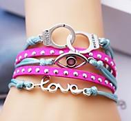 Leather Bracelet Multilayer Alloy Eye and Love Charms Handmade Bracelet