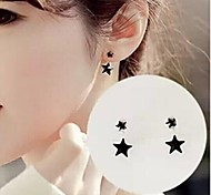 Fashion Big and Small (Star) Silver Alloy Drop Earrings(Black,Pink,Blue) (1 Pair)