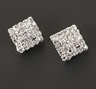 Vintage forma quadrata di clip diamantato orecchino (1 coppia)