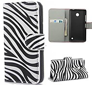 Zebra Pattern PU Leather Case with Magnetic Snap and Card Slot for Nokia Lumia 630