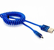 Nueva LED 4 pies muelle en espiral USB 2.0 macho a cable cargador Sync datos Micro USB para Samsung HTC Móviles