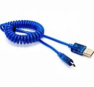 Neue LED-4ft Frühling Coiled USB-2.0-Stecker an Micro-USB-Daten-Synchronisierungs-Ladegerät-Kabel für Samsung HTC Handys
