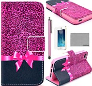 COCO FUN® Purple Leopard Pattern PU Leather Full Body Case with Screen Protector, Stand and Stylus for iPhone 5/5S