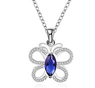Fashionable Silver Plated Blue Butterfly Pattern Zircon Pendant Necklace (Silver+Blue)