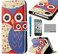 Pattern Owl Blue Flower COCO FUN ® PU Leather Case cuerpo completo con protector de pantalla, Stand and Stylus para iPhone 4/4S