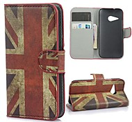 Vintage Union Jack Flag Leather Wallet Case with Stand and Card Slot for HTC One M8 Mini