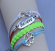 Women's Retro Belive and Number 8 with Clover Colorful  Rope  PU Leather Woven Bracelet