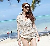 Women's Fashion Round Collar Beige Hollow Crochet Half-sleeve Swimwear Swimsuit Bikini Beach Cover-up