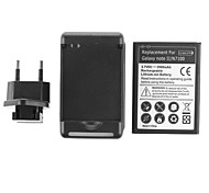 3500mAh Battery with Europlug and USB Charger for Samsung Galaxy Note II/N7100