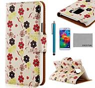 funda de piel de coco diversión flor ® patrón PU blanco con protector de pantalla, aguja y soporte para Samsung Galaxy i9600 s5