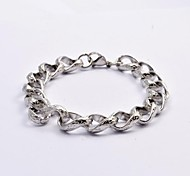 Fashion Silver Engraving Stainless Steel Chain Cable Bracelets